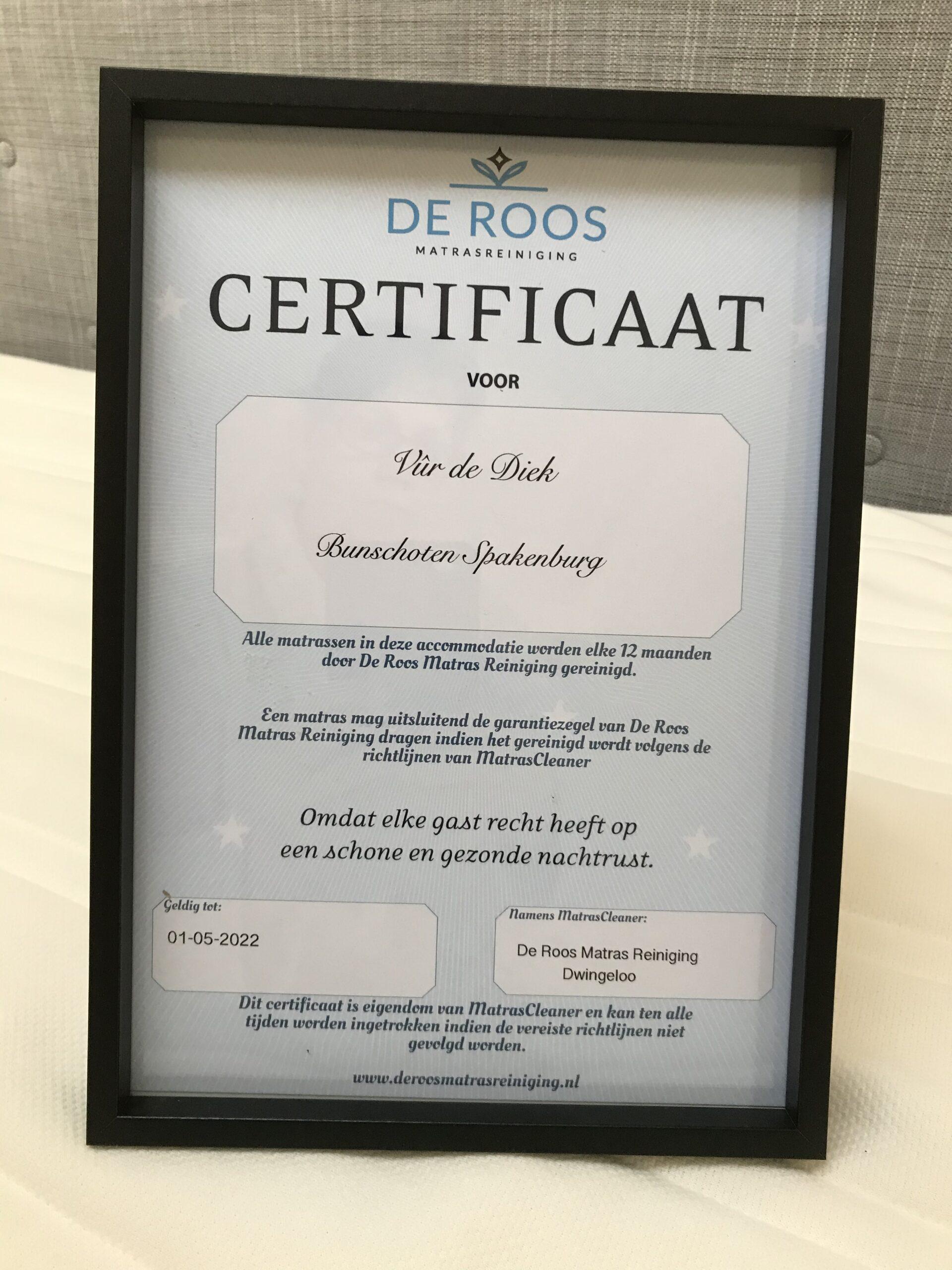 certificaat voor matrascleaning